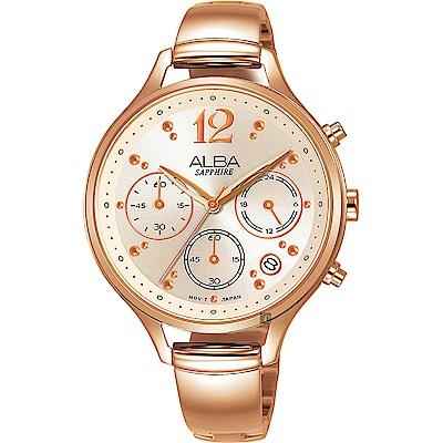 ALBA 雅柏 甜美三眼計時女錶(AT3F18X1)-玫塊金/36mm