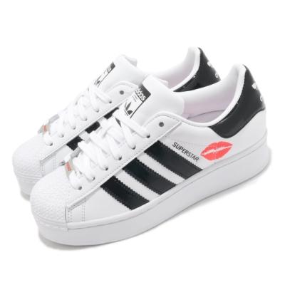 adidas 休閒鞋 Superstar Bold 復古 女鞋 愛迪達 三葉草 唇印 厚底 微增高 白 黑 FZ3789