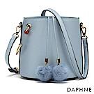 達芙妮DAPHNE-清新小毛球束口水桶包-藍色