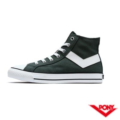 【PONY】Shooter系列高統經典復古帆布鞋 休閒鞋 女鞋 橄欖綠