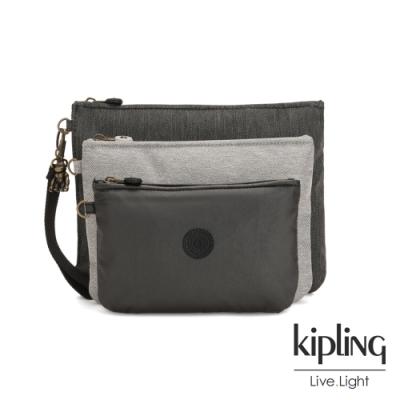 Kipling 復古質感丹寧黑多袋實用配件包-IAKA L WRISTLET