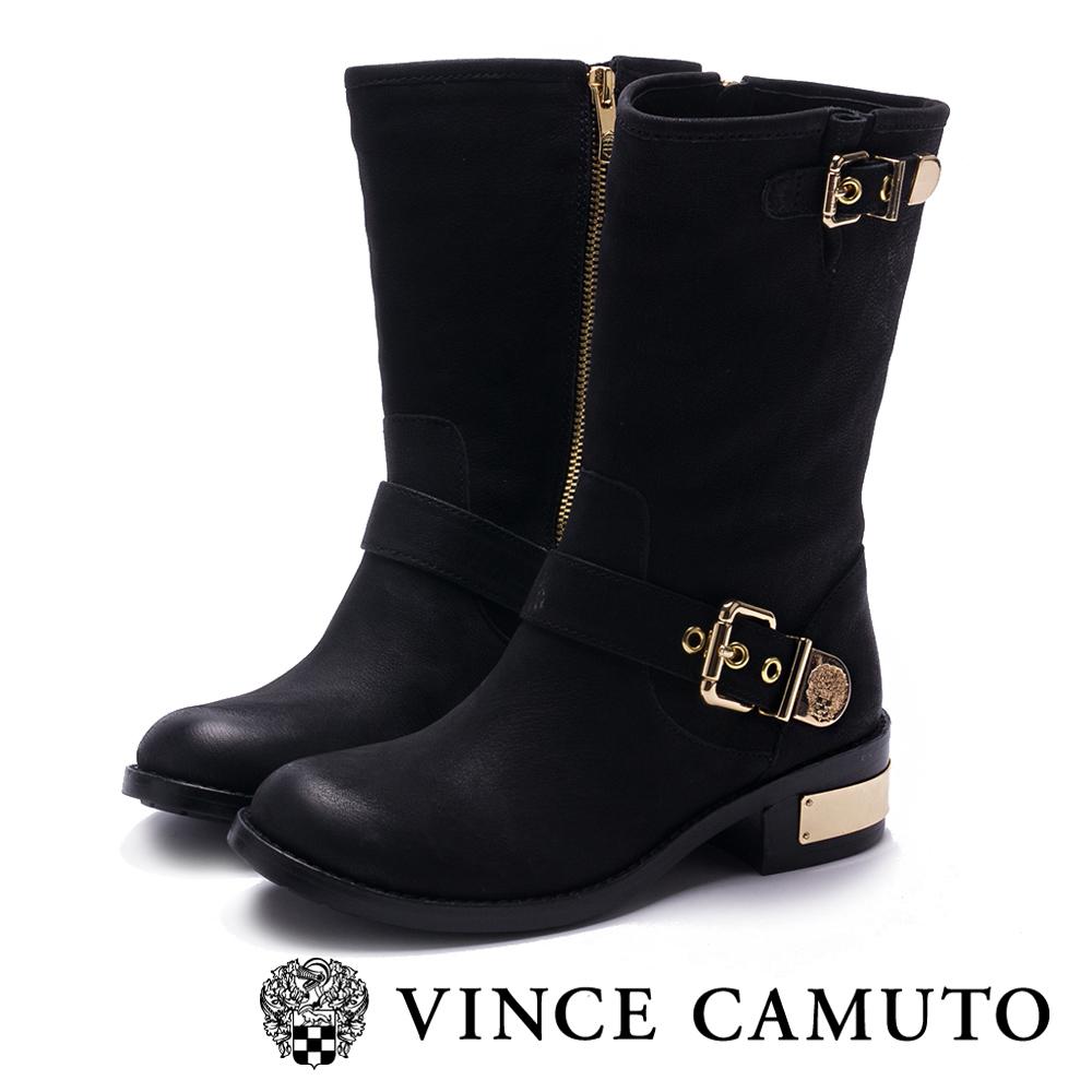 VINCE CAMUTO 搖滾帥氣金屬扣中筒靴-黑色