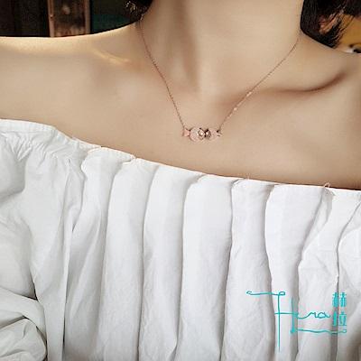 Hera 赫拉 -日韓潮流磨砂親吻魚吊墜鈦鋼項鍊氣質短款玫瑰金鎖骨鍊子女士配飾