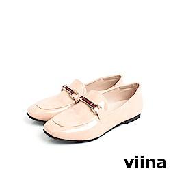 viina Basic 鏡面織帶樂福鞋 - 粉橘