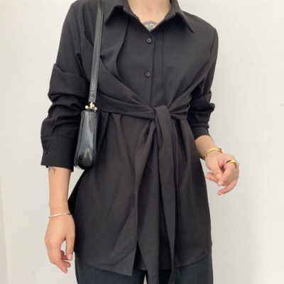 La Belleza假兩件披肩式前後可綁結排釦絲棉滑料襯衫