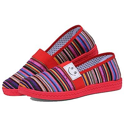 韓國KW美鞋館 繽粉舒適橫紋懶人鞋-紅色