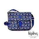 Kipling 粉色猴子叢林印花雙拉鍊口袋斜背包-NEW RITA