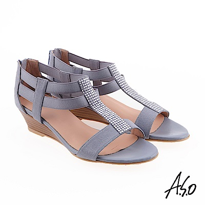 A.S.O 炫麗魅惑  全真皮摩登奈米楔型鞋 淺紫