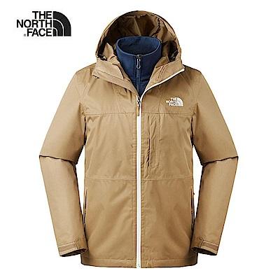 The North Face北面男款卡其色防風防水三合一外套|3V9BT5C