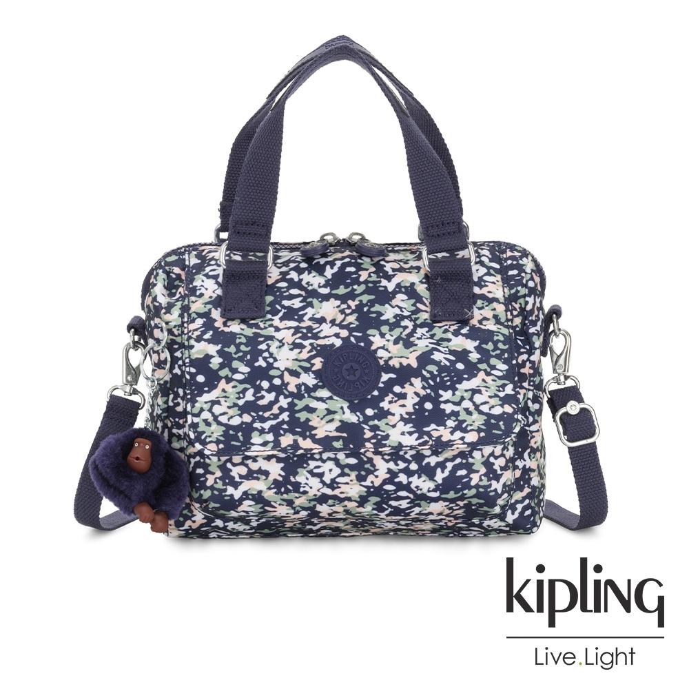 Kipling 花漾深綻藍翻蓋手提側背包-ZEVA
