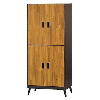 綠活居 明尼達時尚2.7尺雙色四門高鞋櫃/玄關櫃-80x35x176cm-免組