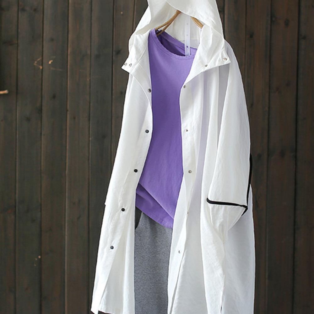 中長版寬鬆連帽防曬衣外套拼色遮陽外搭-設計所在