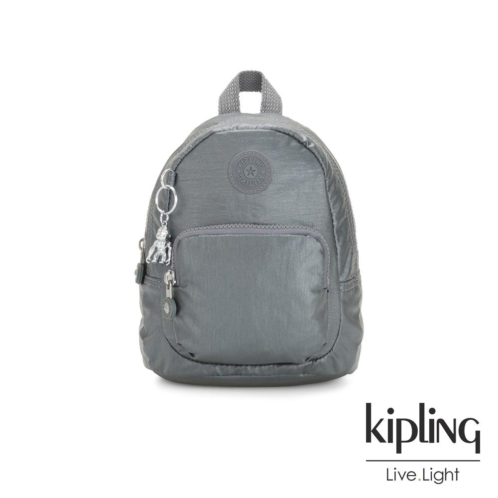 Kipling 簡約亮銀灰兩用側背雙肩包-GLAYLA
