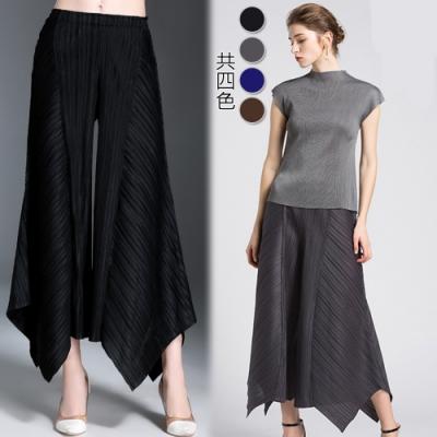 【KEITH-WILL】(預購) 時尚寬大設計三宅壓摺寬褲
