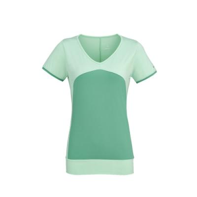 法國【EiDER】女專業排汗透氣抗UV短V領衫 / 6EIV3558-薄荷綠