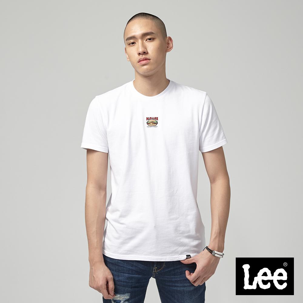 Lee 漢堡刺綉短袖圓領T恤-白