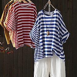 寬鬆九分袖棉條紋t恤短袖上衣-設計所在