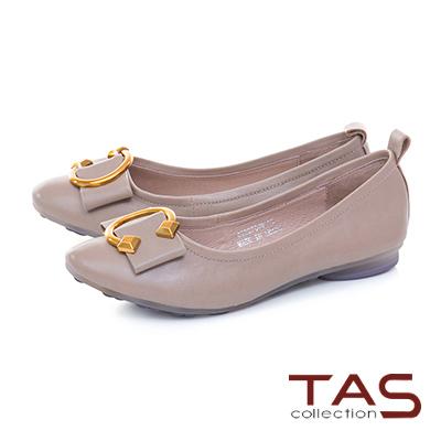 TAS C字金屬扣飾羊皮娃娃鞋-氣質灰