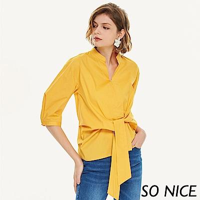 SO NICE時尚芥黃綁結造型上衣
