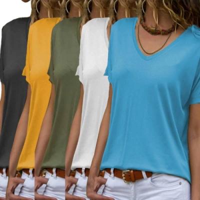 La Belleza純色V領短袖寬鬆版棉質T恤L~2XL