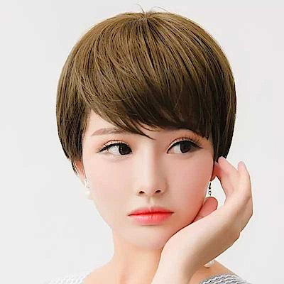 幸福揚邑 女斜瀏海短直髮美拍直播造型必備整頂假髮