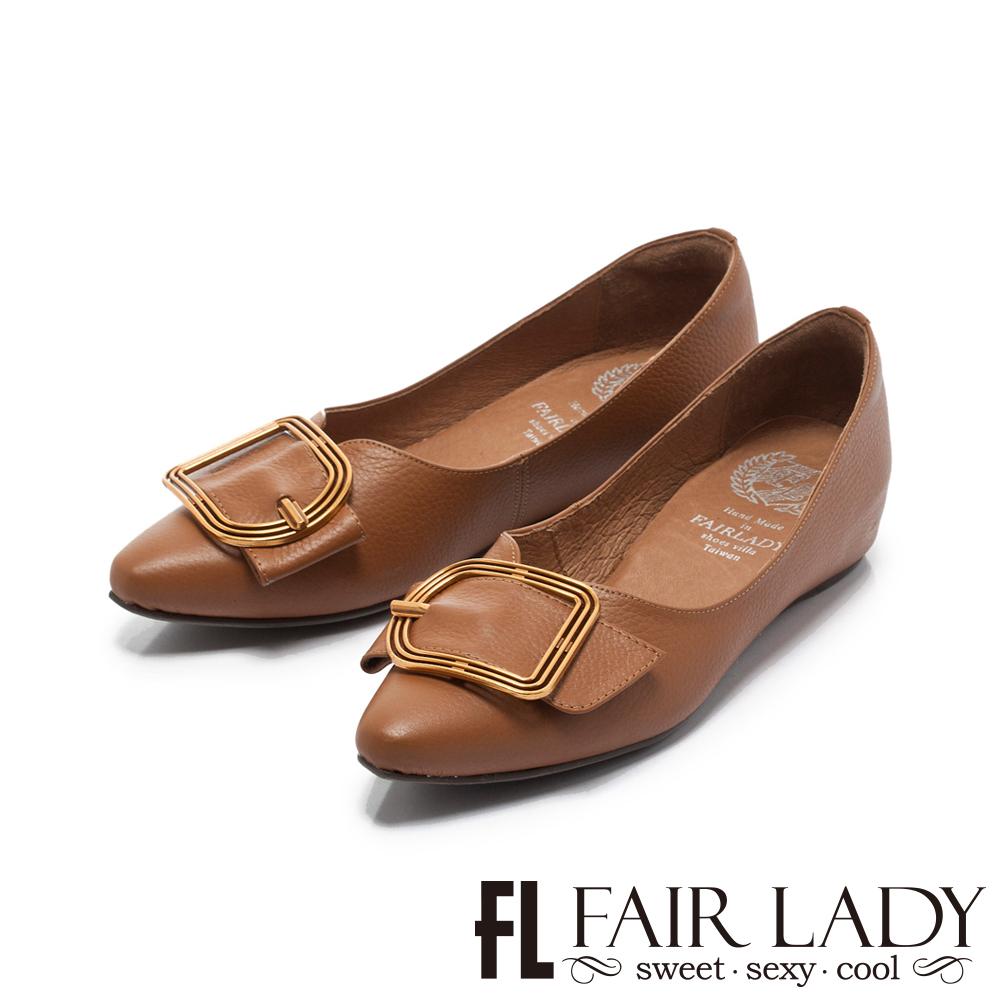 【FAIR LADY】Soft懶骨頭 鏤空金屬框飾尖頭平底鞋 棕