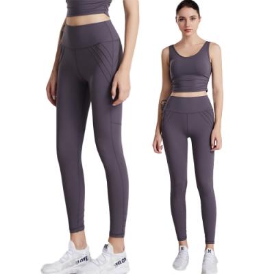 運動褲 壓線布紋收腹提臀瑜珈褲-3色 LOTUS