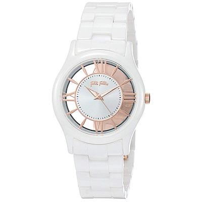 Folli Follie Time Illusion 透明錶盤時尚陶瓷腕錶34mm (白)