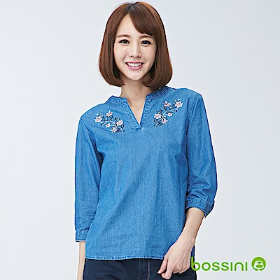 bossini女裝-牛仔七分袖罩衫淡靛藍