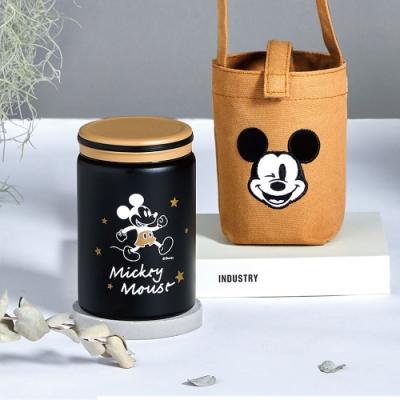 Disney 迪士尼 經典米奇 #304不銹鋼真空保溫罐毛絨提袋組500ml(快)