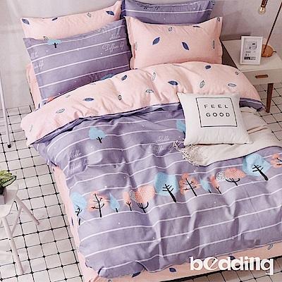 BEDDING-100%棉5尺雙人薄式床包涼被四件組-許願樹-灰