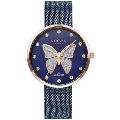 STRAND 丹麥海之星時尚腕錶-蝴蝶-藍玫瑰金/35mm(S700LXVLML-DB)