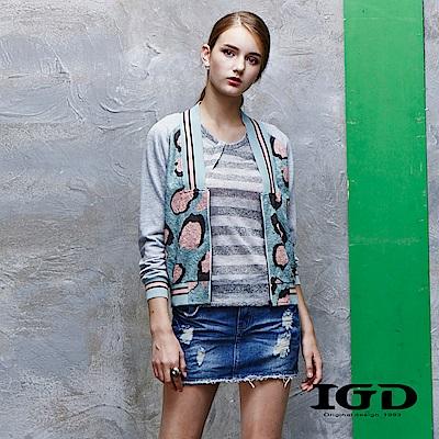 IGD英格麗 豹紋短版棒球外套
