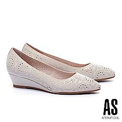 低跟鞋 AS 細緻沖孔造型羊皮尖頭楔型低跟鞋-米