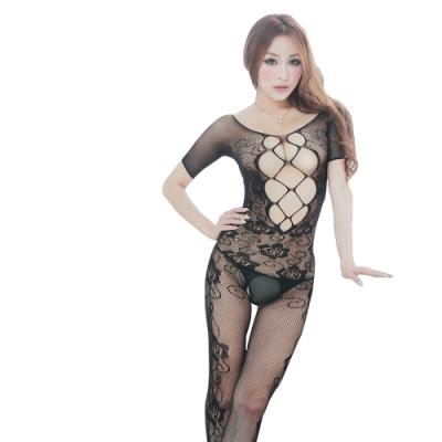 Sweets lady-連身網提花開檔夜店酒吧表演制服愛愛衣情趣內衣(C3366)