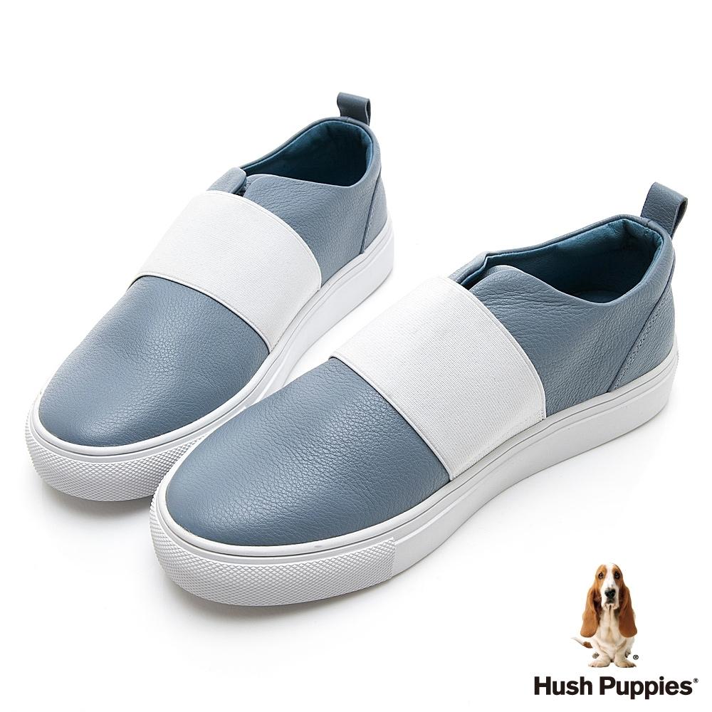Hush Puppies Qwotpermtp 皮革直套女便鞋-藍