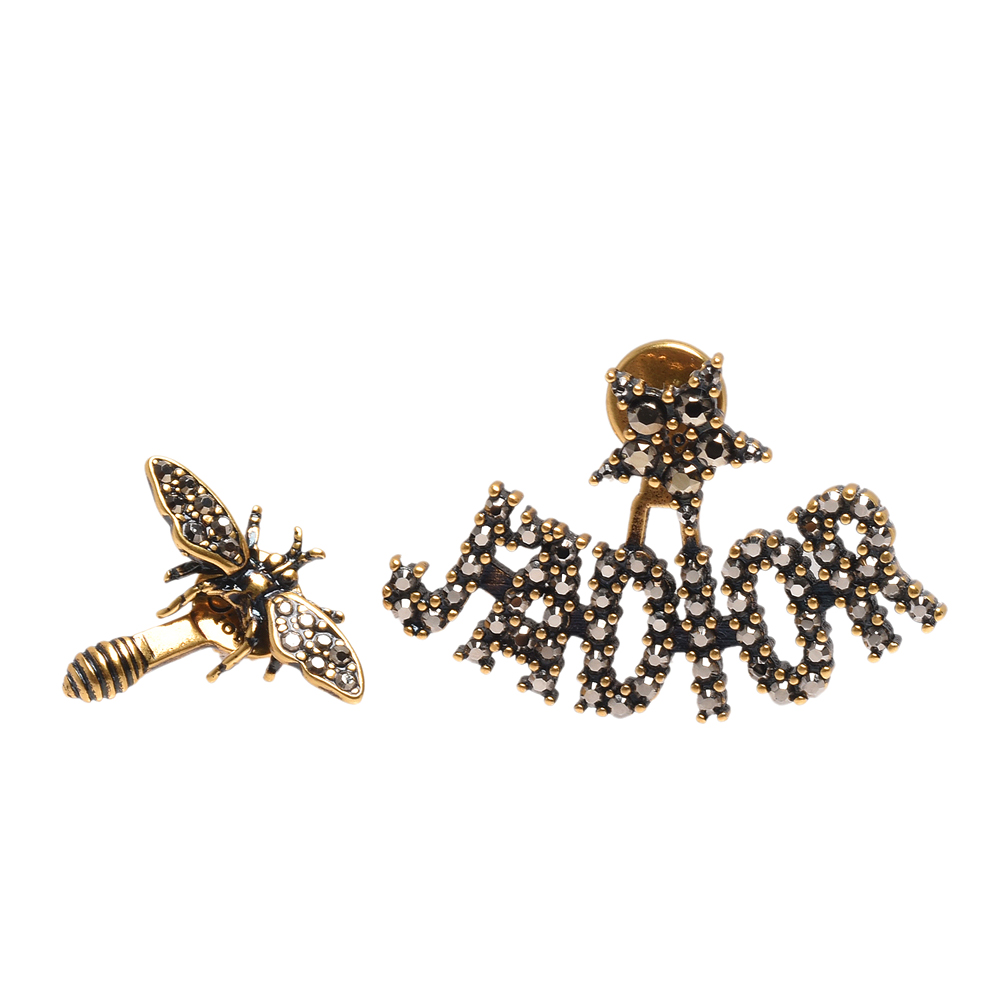 DIOR 經典J Adior系列鍍金復古金屬水鑽鑲飾不對稱蜜蜂造型穿式耳環(金)