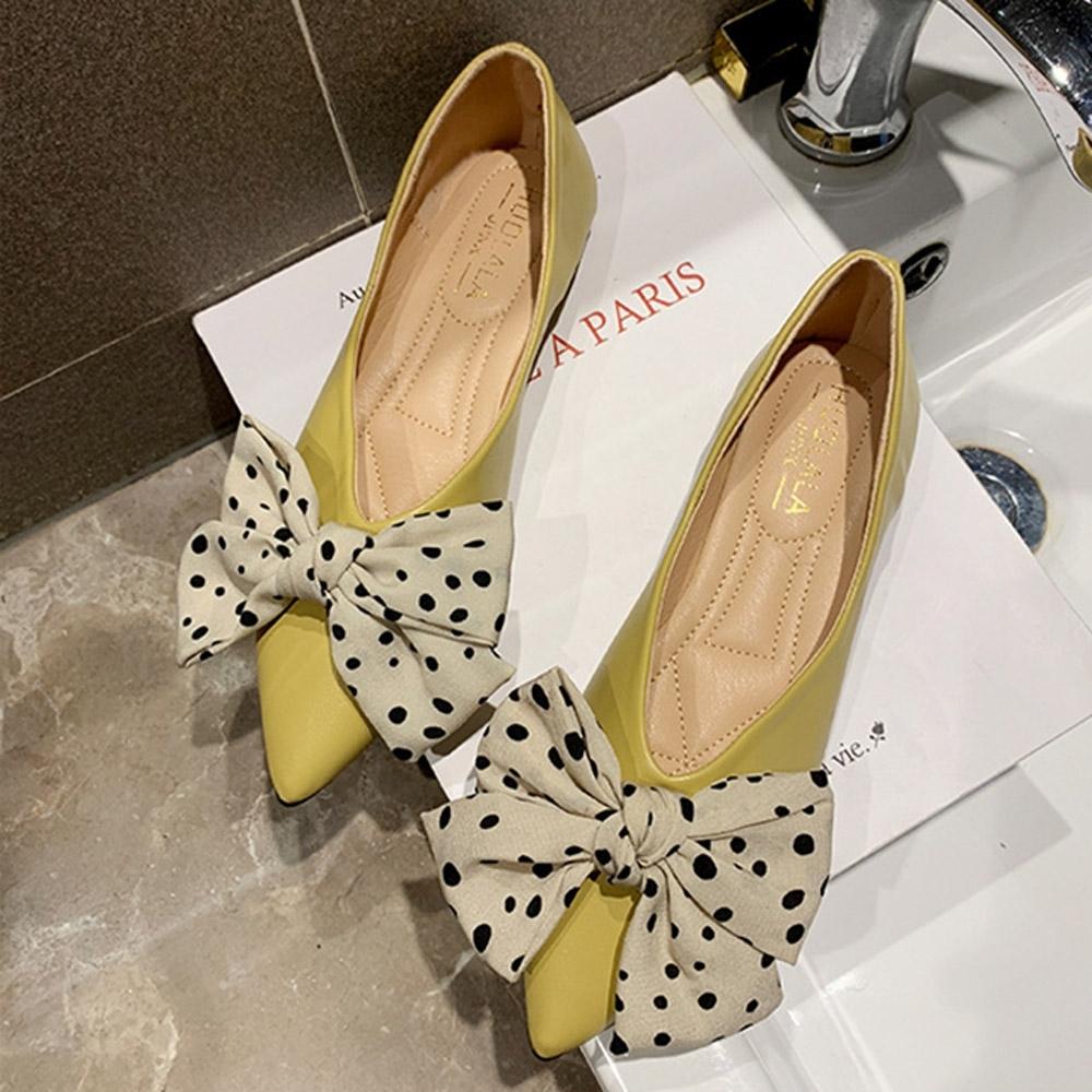 KEITH-WILL時尚鞋館 韓新品舒適蝴蝶結點點平底鞋-黃