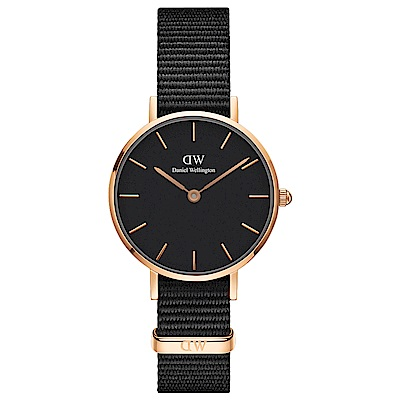 DW Daniel Wellington 典雅康沃爾全黑NATO錶帶氣質腕錶-金框28mm