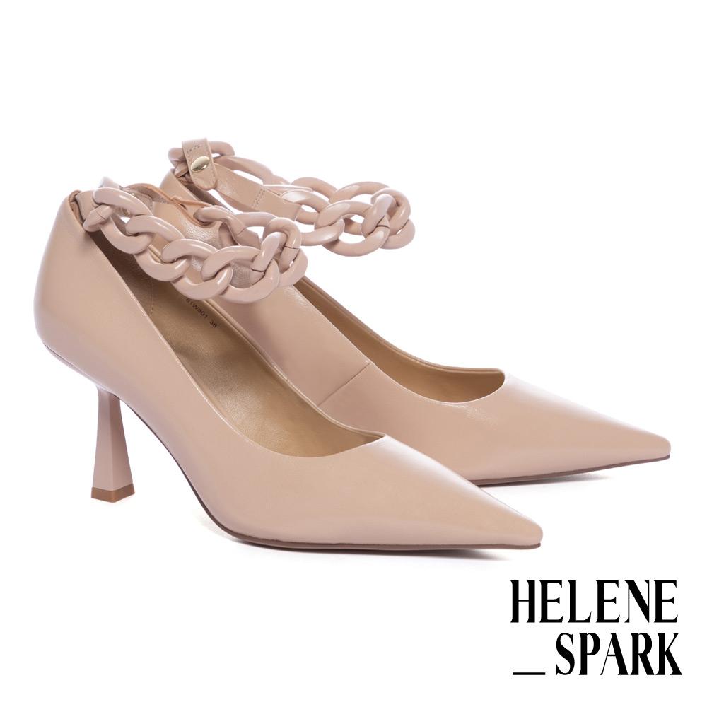 高跟鞋 HELENE SPARK 簡約柔美純色粗鏈條尖頭高跟鞋-粉