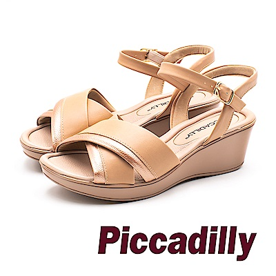 Piccadilly 優雅LADY 交叉帶楔型涼鞋 女鞋- 卡其 (另有黑)