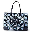 TORY BURCH 幾何印花系列logo帆布手提單肩包 綠/藍色