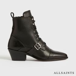 ALLSAINTS  KATY  登山簡約風尖頭拉鍊牛皮皮靴-黑