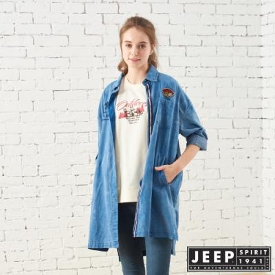 JEEP 女裝 牛仔長版襯衫式外套-牛仔藍