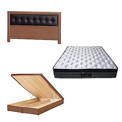綠活居 亞多6尺雙人加大床台三式組合(床頭片+後掀床底+抗菌天絲彈簧床墊)五色可選