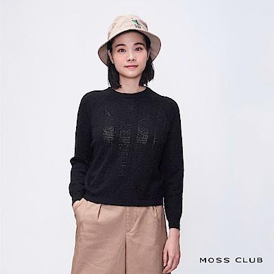 MOSS CLUB 燙鑽印花休閒-上衣(黑色)