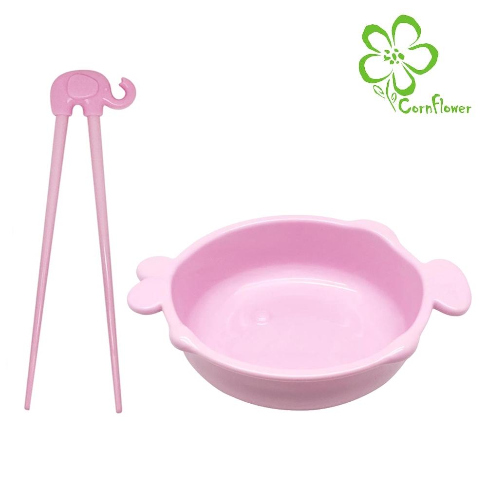 Cornflower 嘟嘴魚兒童碗+小象學習筷 (無毒玉米食器)