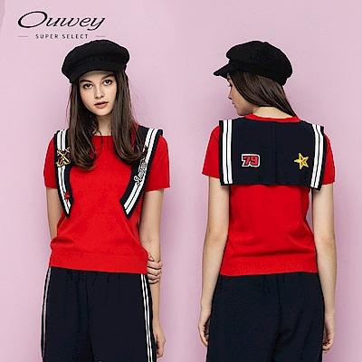 OUWEY歐薇 海洋風披肩針織上衣(紅)