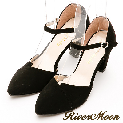 River&Moon跟鞋-台灣製優雅韓系素面微尖頭繫踝包鞋-黑