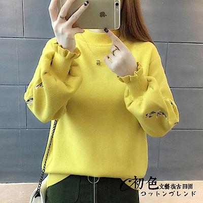 【初色】純色刺繡燈籠袖上衣-共4色(F可選)   初色